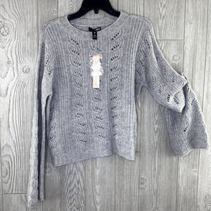 NWT $228 Aqua Cashmere Sweater Women's XS Gray Pointelle Cable Knit Bell Sleeves